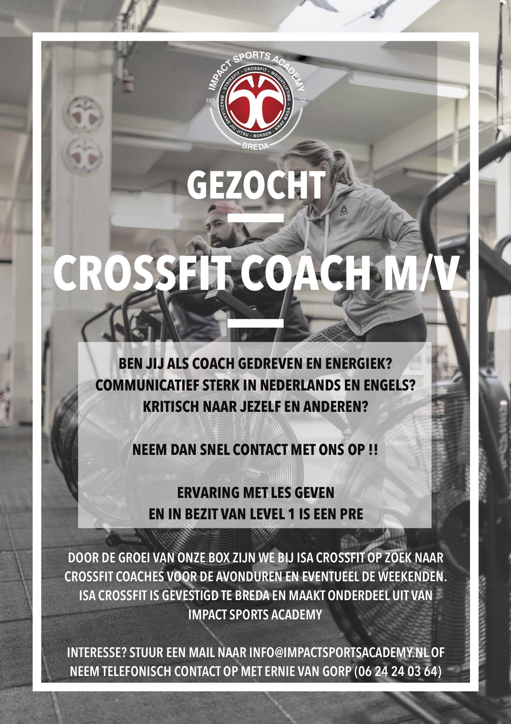 CrossFit coach gezocht bij ISA CrossFit te Breda onderdeel van Impact Sports Academy